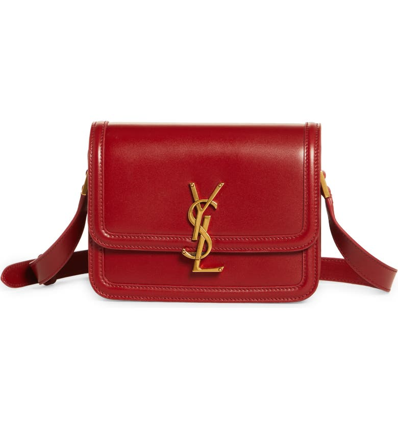 SAINT LAURENT Small Solferino Leather Shoulder Bag, Main, color, OPYUM RED