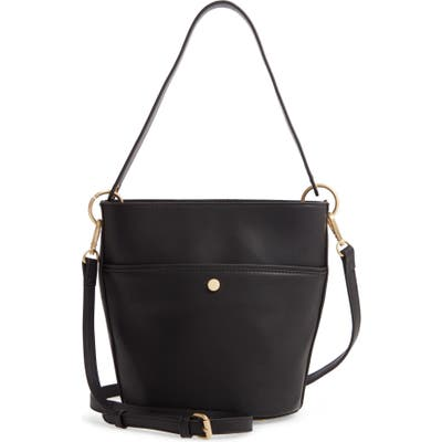 Sole Society Faux Leather Bucket Bag - Black