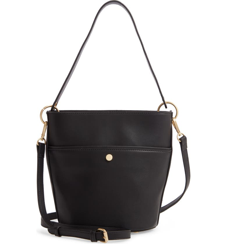SOLE SOCIETY Faux Leather Bucket Bag, Main, color, BLACK