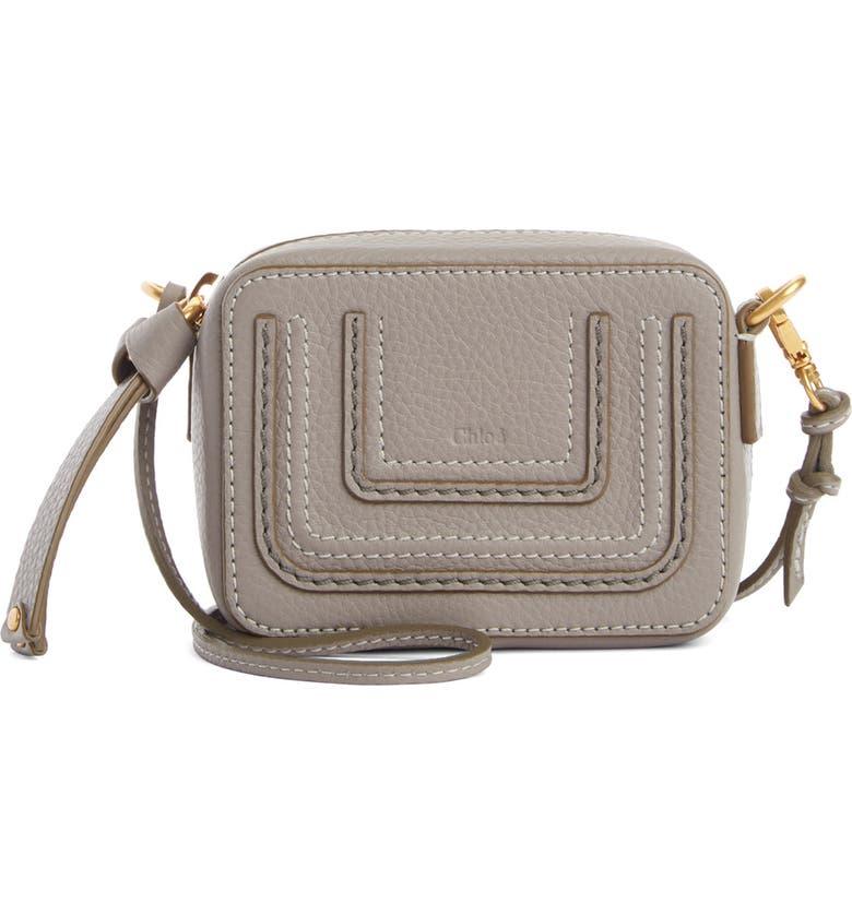CHLOÉ Mini Marcie Leather Crossbody Bag, Main, color, 030