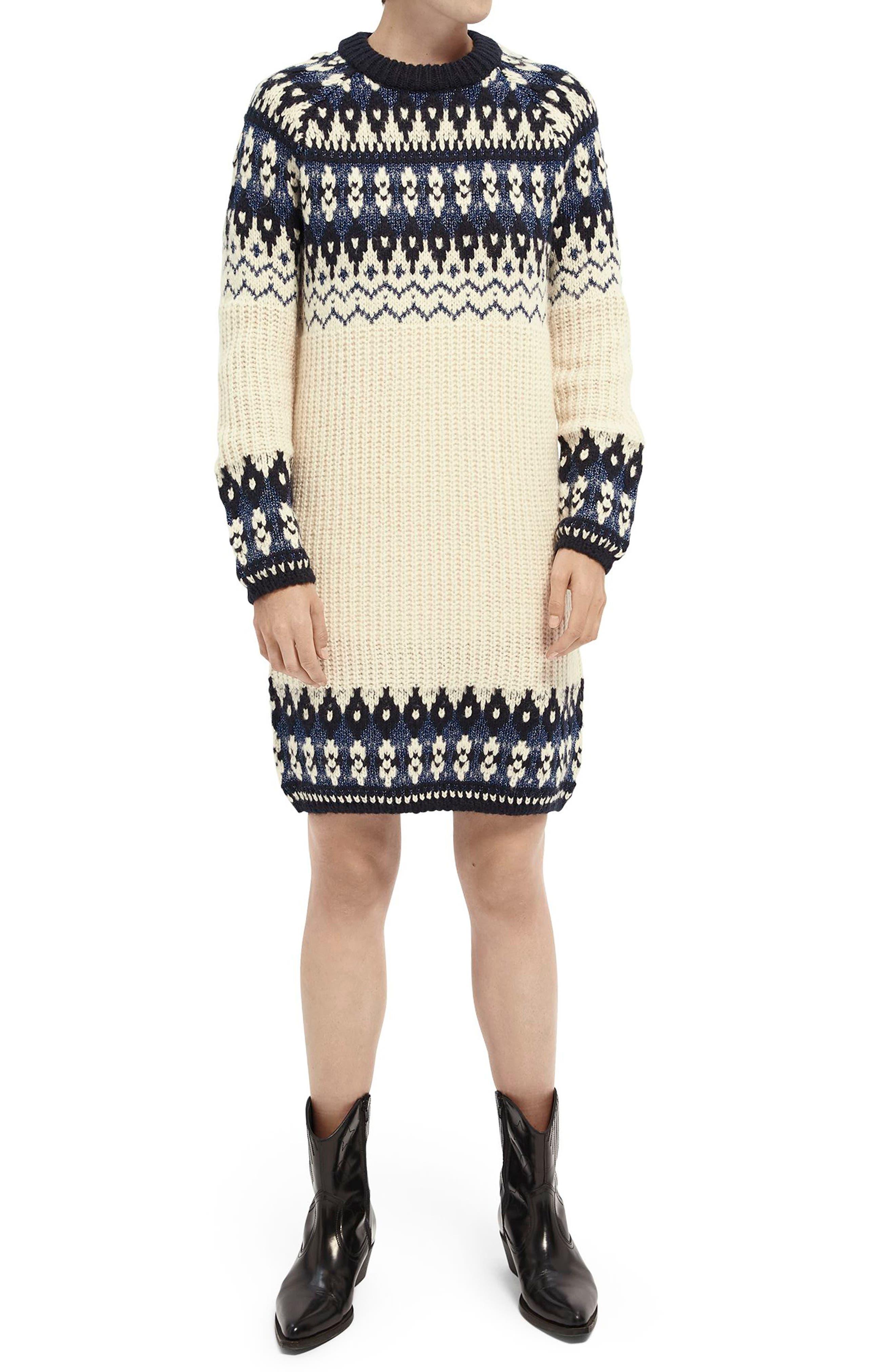 Image of Scotch & Soda Long Sleeve Fair Isle Sweater Dress