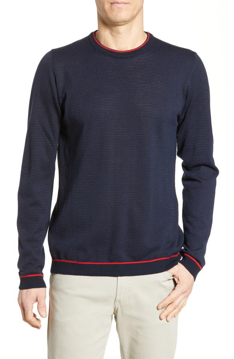 BUGATCHI Regular Fit Ottoman Stitch Sweater, Main, color, MIDNIGHT