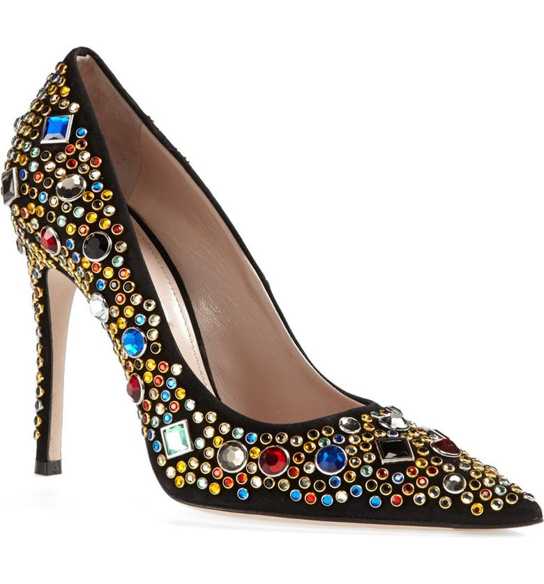 MIU MIU Jeweled Pump, Main, color, 001