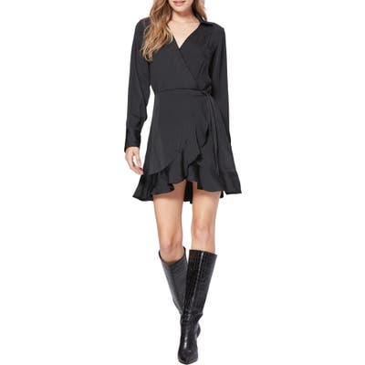 Paige Parisa Wrap Front Long Sleeve Satin Minidress, Black