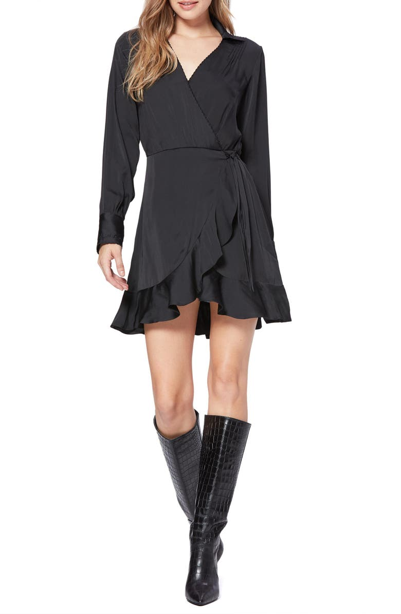 PAIGE Parisa Wrap Front Long Sleeve Satin Minidress, Main, color, BLACK