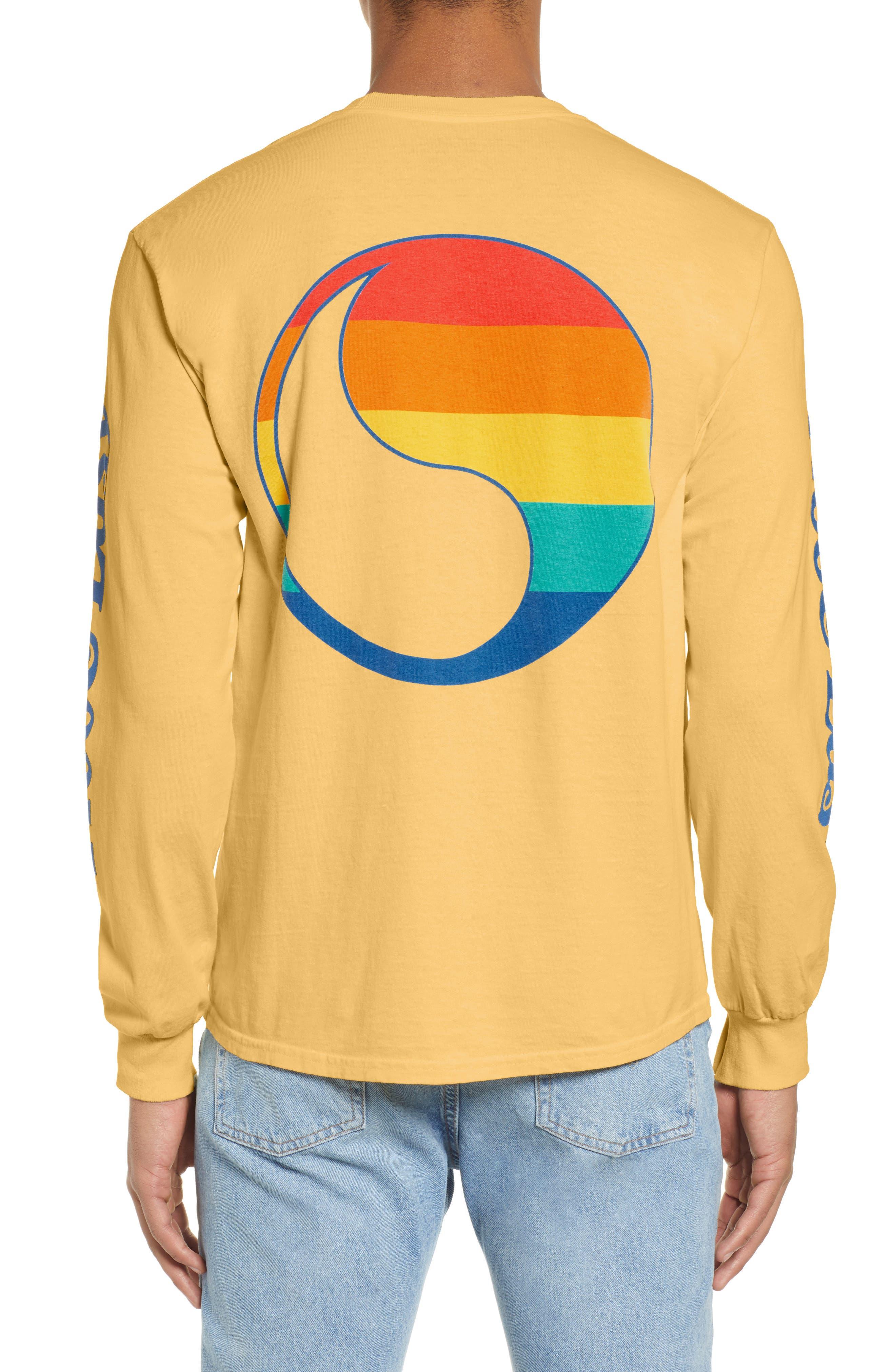 ,                             Free & Easy Rainbow Yin Yang Long Sleeve T-Shirt,                             Alternate thumbnail 2, color,                             YELLOW