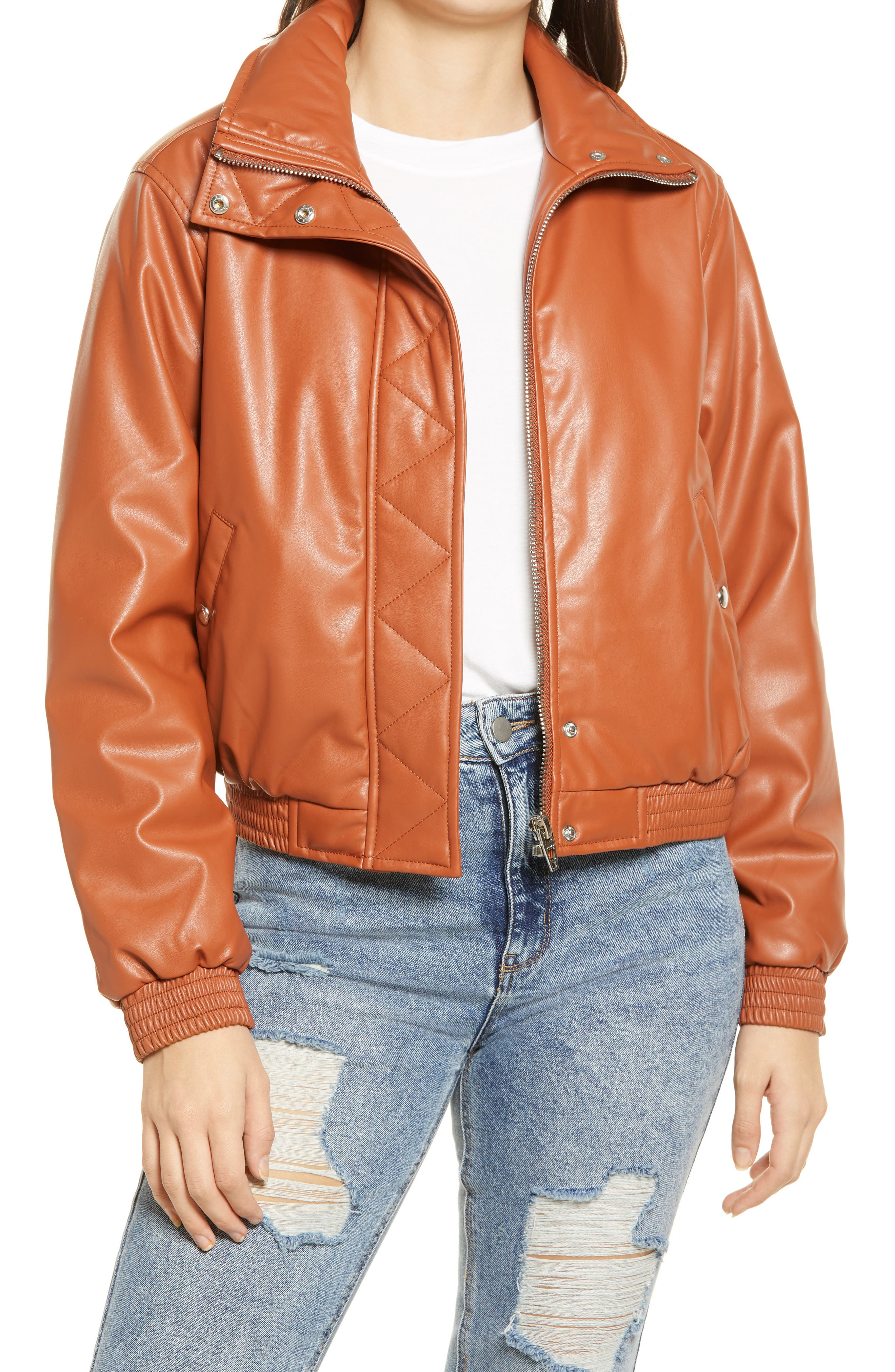 Women's Blanknyc Crop Faux Leather Bomber Jacket, Size Small - Brown