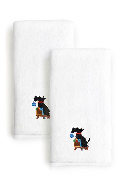 Image of LINUM HOME Christmas Dog Embroidered Hand Towels - Set of 2