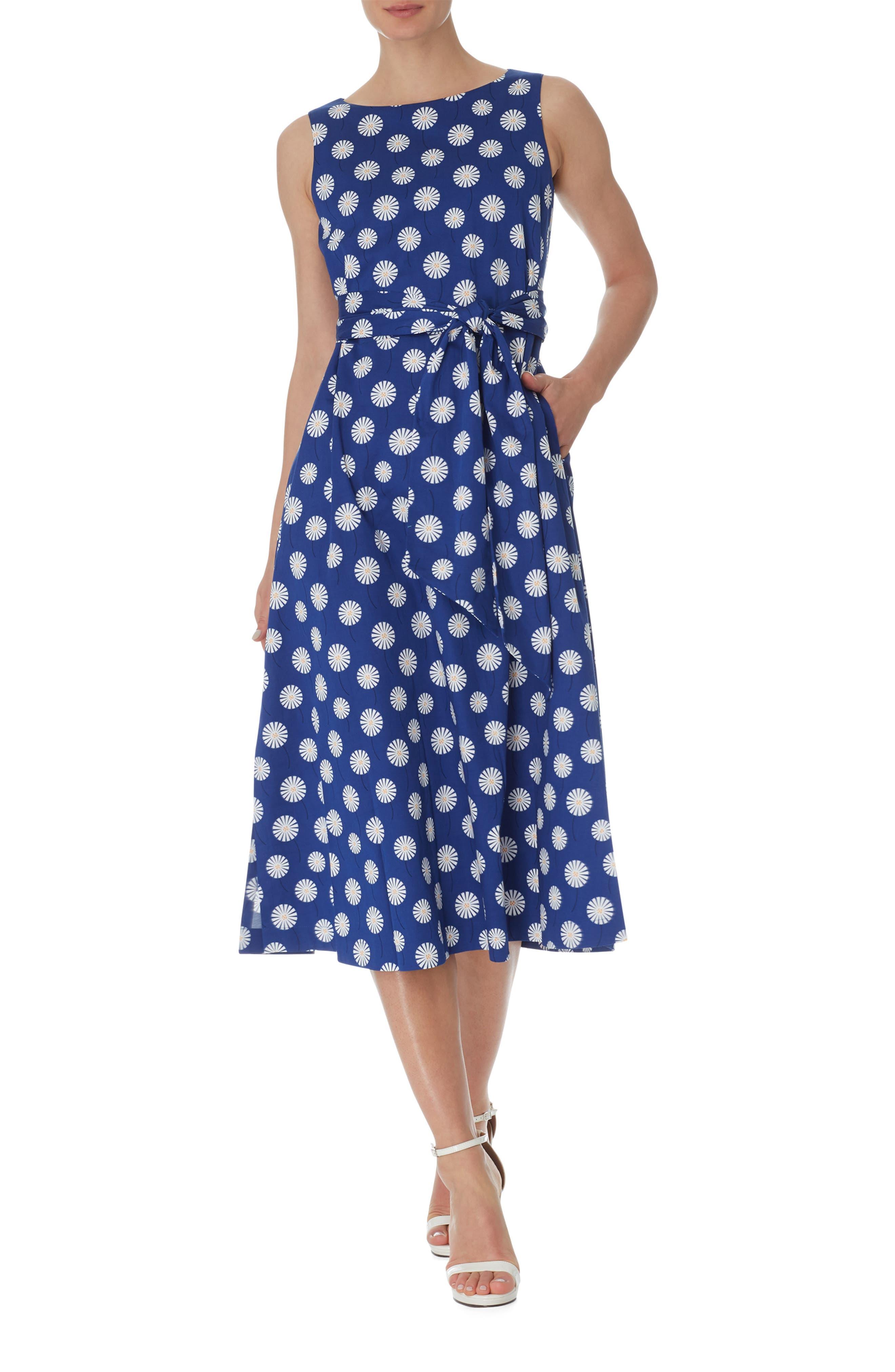 Daisy Print Stretch Cotton Midi Dress
