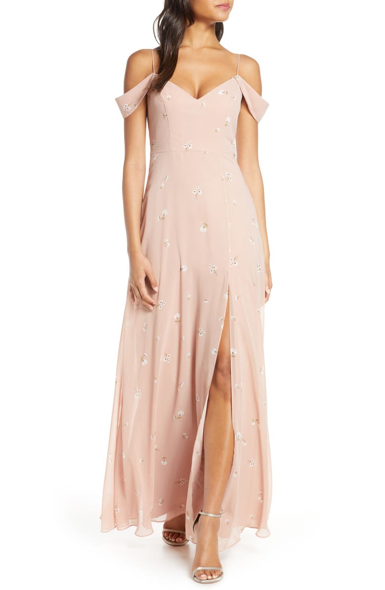 JENNY YOO Priya Cold Shoulder Floral Chiffon Evening Dress, Main, color, DITSY FLORAL WHIPPED APRICOT