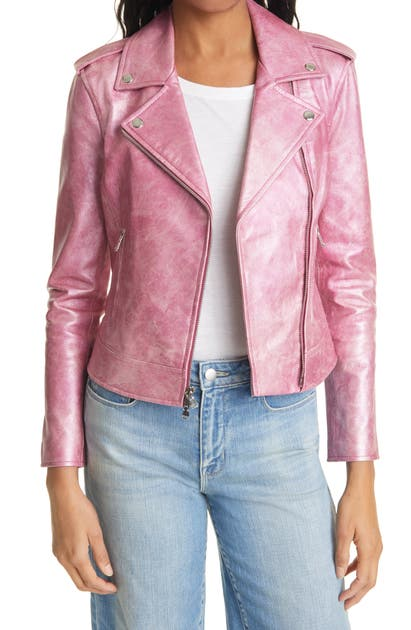 L Agence PINK LEATHER MOTO JACKET