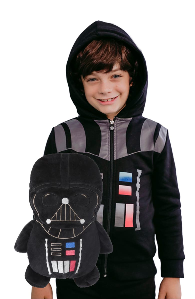 CUBCOATS x Star Wars<sup>™</sup> Darth Vader 2-in-1 Plush Toy Hoodie, Main, color, BLACK