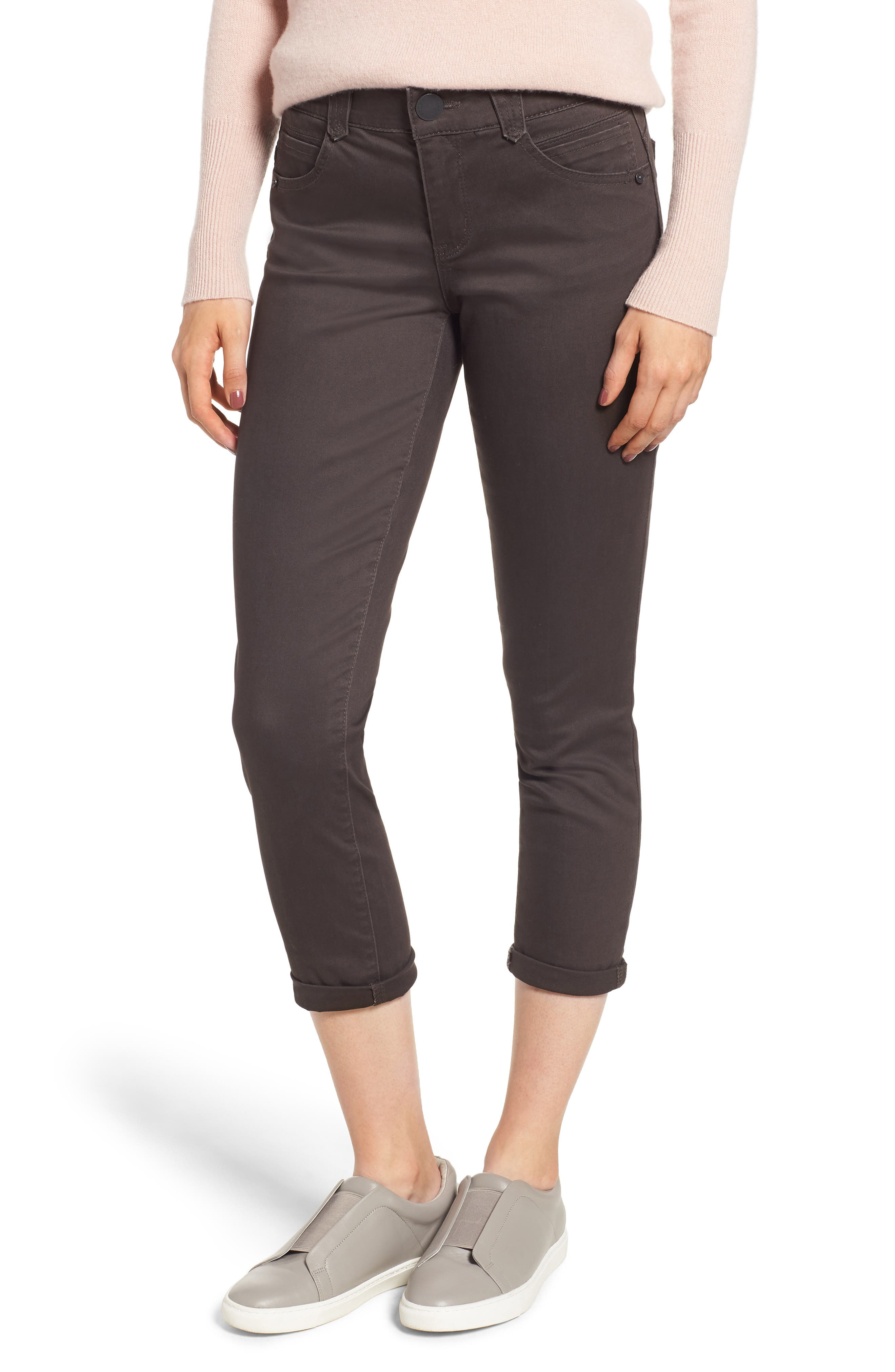 Ab-Solution Crop Skinny Pants, Main, color, ESPRESSO
