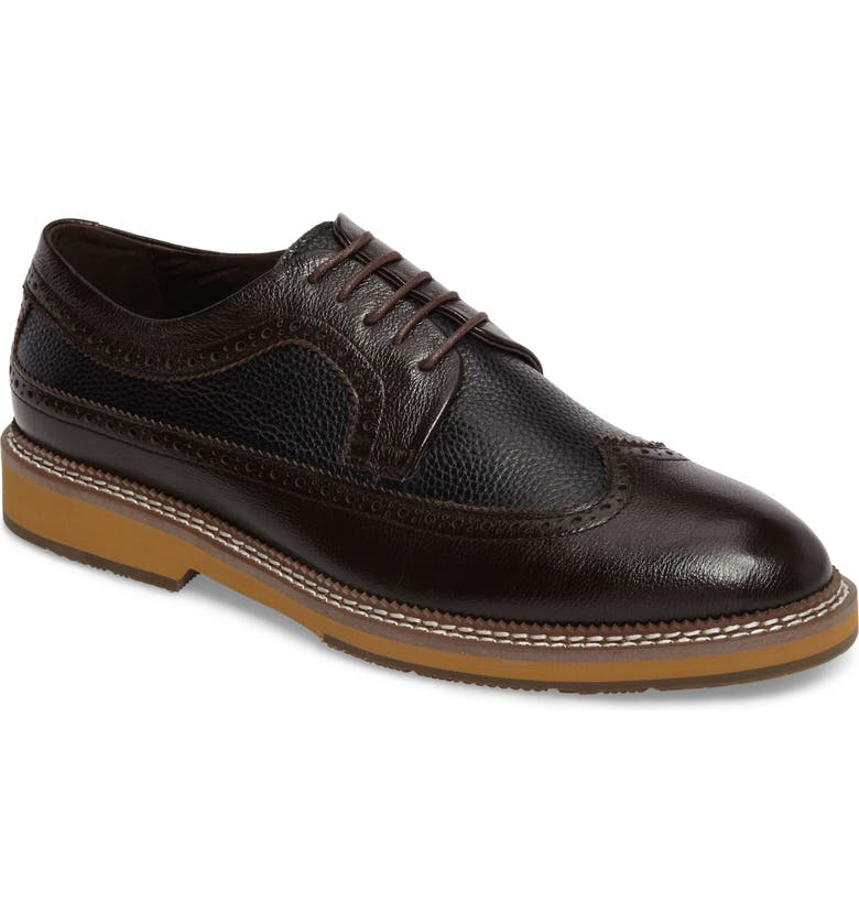 ZANZARA Fouquet Wingtip Derby, Main, color, BROWN LEATHER