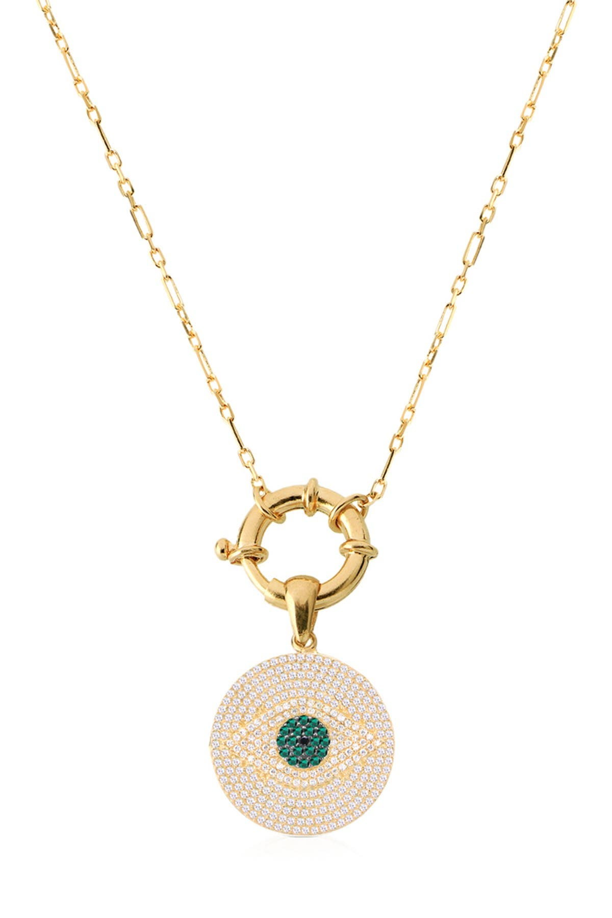 Image of Gabi Rielle 14K Yellow Gold Vermeil Pave Evil Eye Disc Pendant Necklace