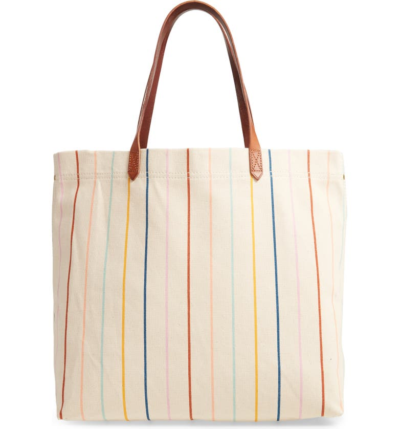 MADEWELL The Canvas Transport Tote: Rainbow Pinstripe Edition, Main, color, VINTAGE CANVAS MULTI