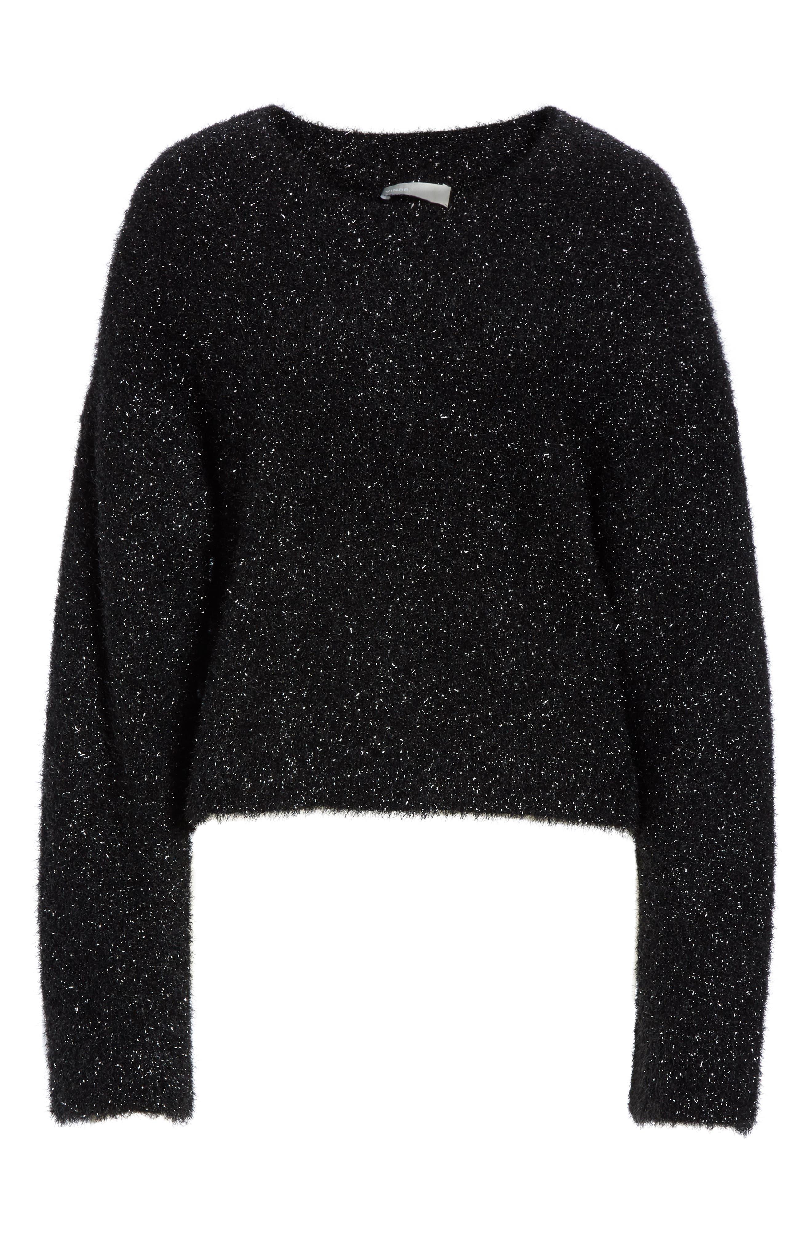 ,                             Boxy Metallic Knit Sweater,                             Alternate thumbnail 6, color,                             001