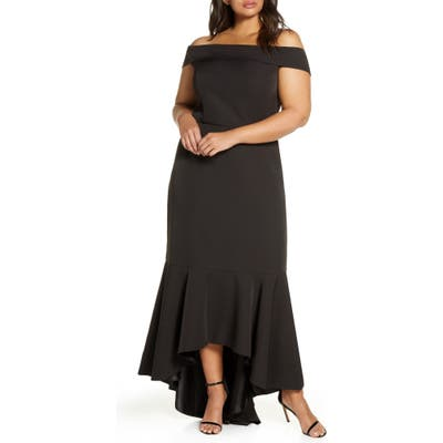Plus Size Chi Chi London Curve Shirley Off The Shoulder High/low Evening Gown, Black