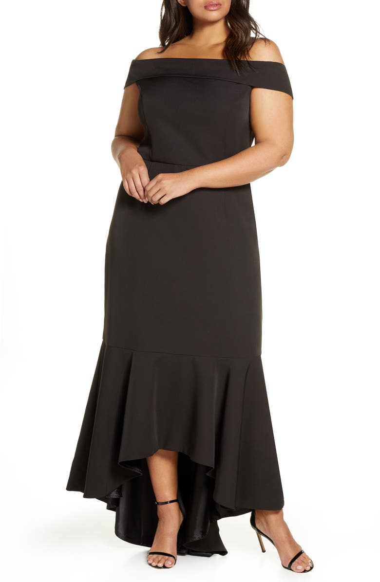 CHI CHI LONDON Curve Shirley Off the Shoulder High/Low Evening Gown, Main, color, BLACK