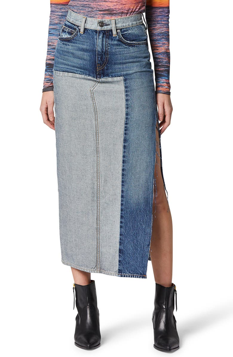 HUDSON JEANS Paneled Denim Skirt, Main, color, AMAZED