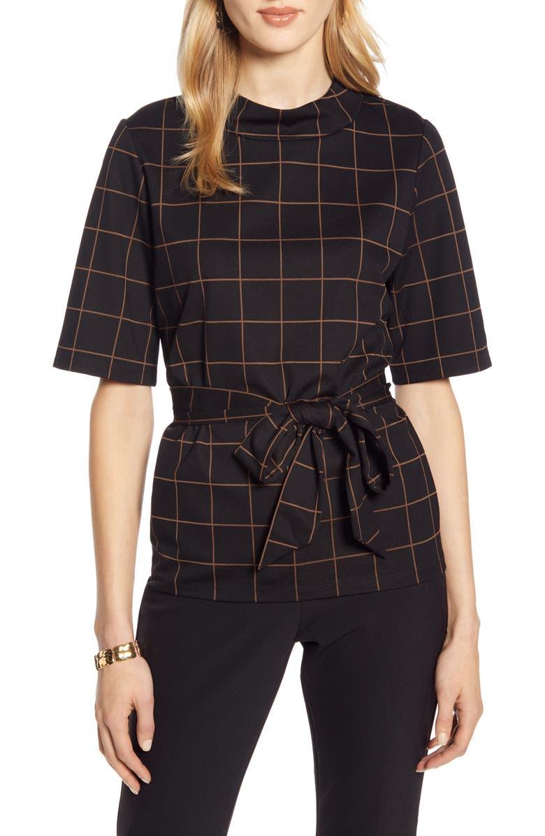 HALOGEN<SUP>®</SUP> Windowpane Pattern Tie Waist Top, Main, color, BLACK WINDOWPANE