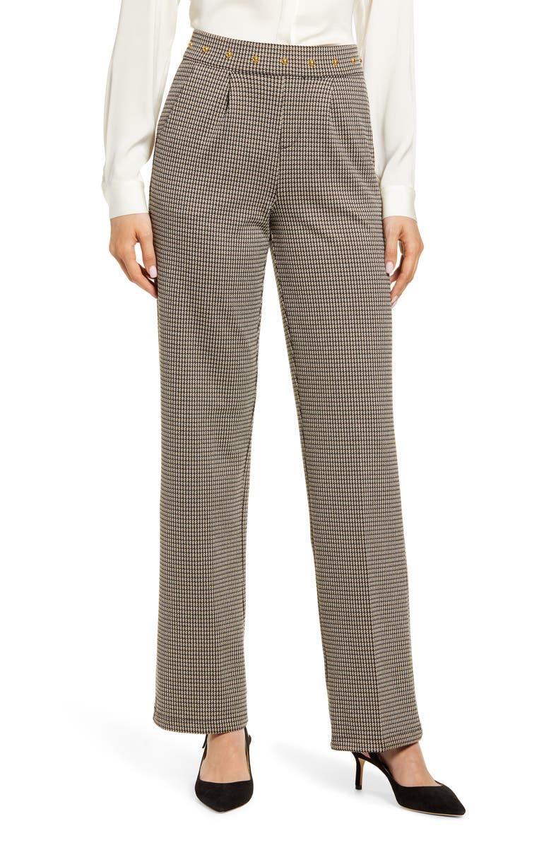 HUE Studded Waist Check Wide Leg Pants, Main, color, 200