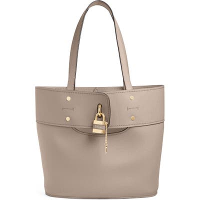 Chloe Aby Small Leather Tote - Grey