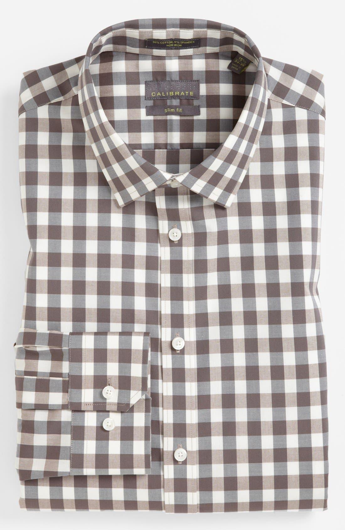 ,                             Slim Fit Non Iron Gingham Dress Shirt,                             Main thumbnail 5, color,                             260