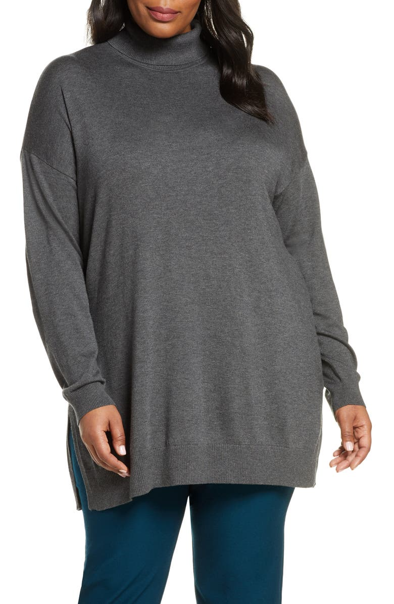 EILEEN FISHER Turtleneck Tunic Sweater, Main, color, ASH