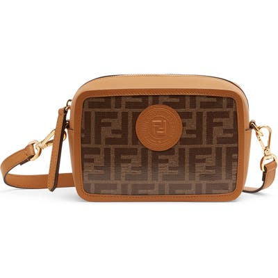 Fendi Logo Canvas Camera Bag - Brown