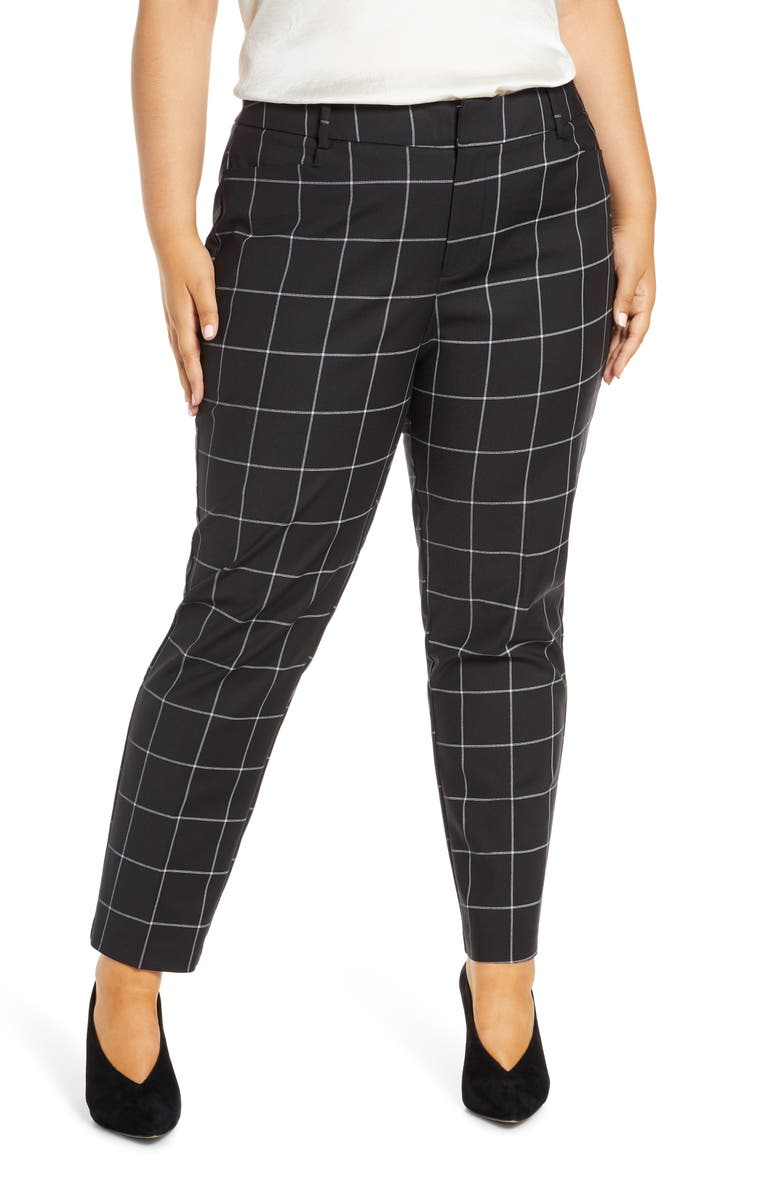 ELOQUII Windowpane Kady Fit Pants, Main, color, BLACK/ WHITE CHECK