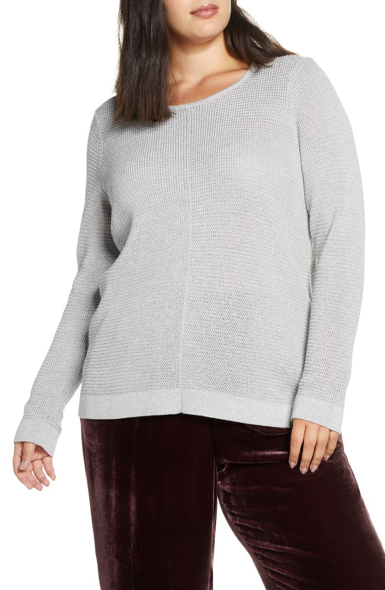 EILEEN FISHER Shimmer Merino Wool Blend Top, Main, color, DARK PEARL