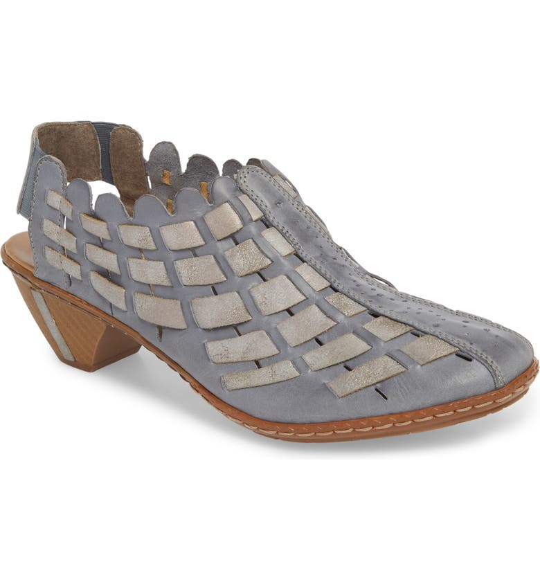 RIEKER ANTISTRESS 'Sina' Woven Bootie, Main, color, AZUR GREY LEATHER