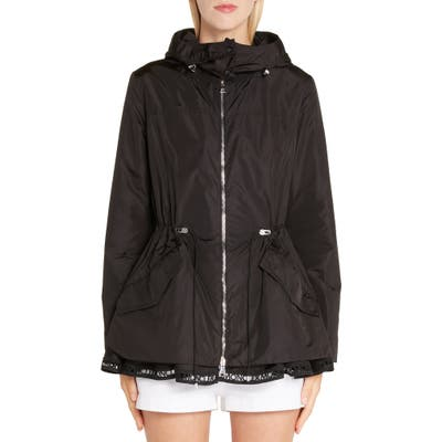 Moncler Loty Cinch Waist Rain Jacket, (fits like 0-2 US) - Black