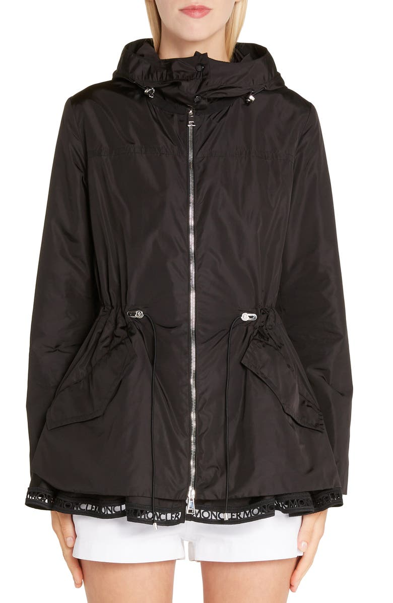 MONCLER Loty Cinch Waist Rain Jacket, Main, color, BLACK