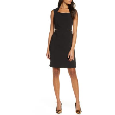 Tahari Scuba Crepe Sheath Dress, Black