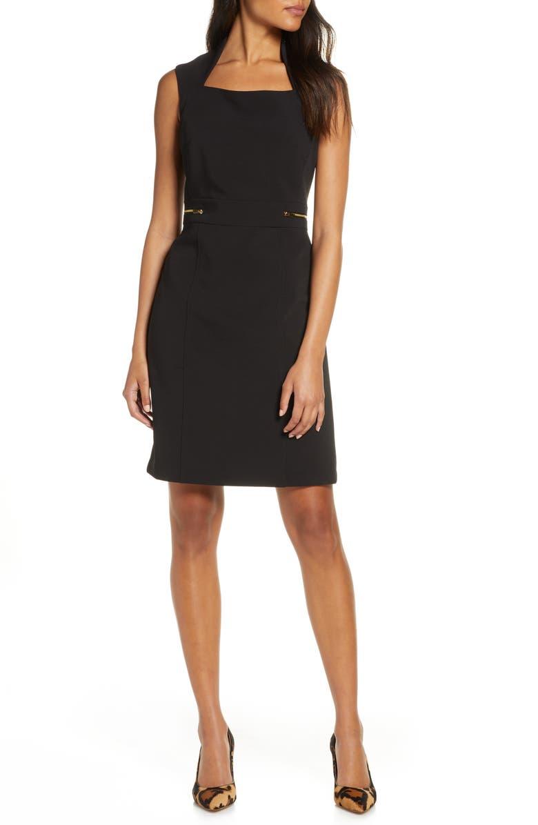 TAHARI Scuba Crepe Sheath Dress, Main, color, 001