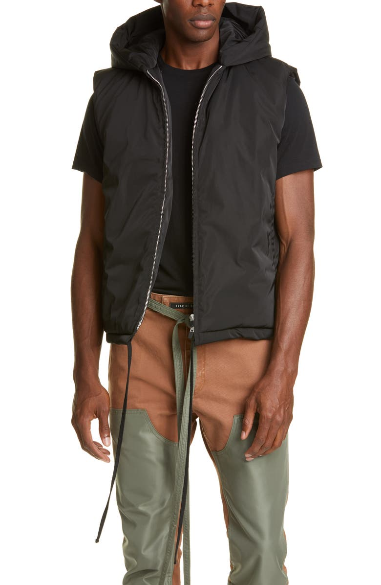 FEAR OF GOD Hooded Nylon Vest, Main, color, BLACK