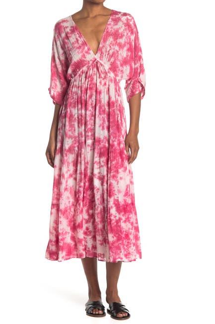 Image of Angie Tie Dye V-Neck Midi Dress