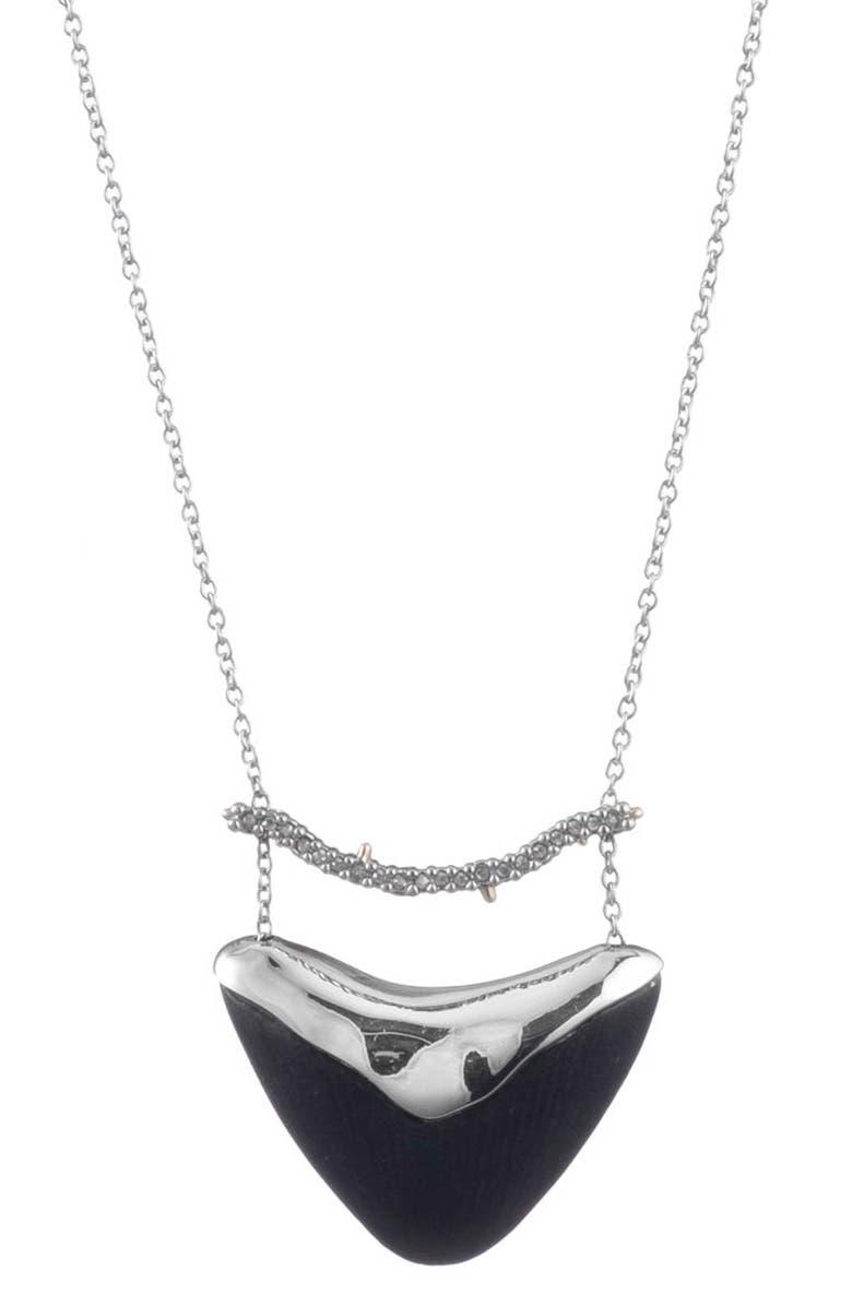 ALEXIS BITTAR Crystal Encrusted Bar & Shield Pendant Necklace, Main, color, BLACK