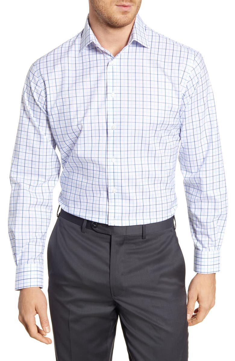 NORDSTROM MEN'S SHOP Traditional Fit Non-Iron Check Dress Shirt, Main, color, BLUE ROBBIA