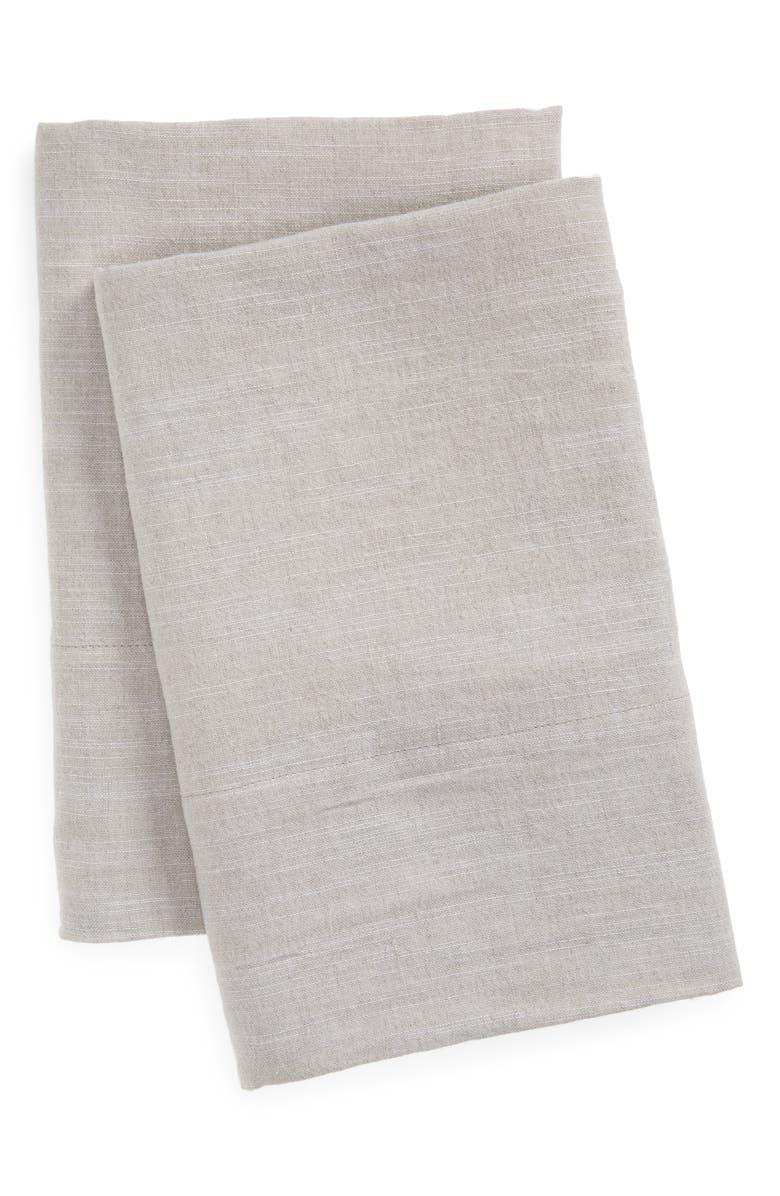 TREASURE & BOND Set of 2 Linen & Cotton Pillowcases, Main, color, NATURAL