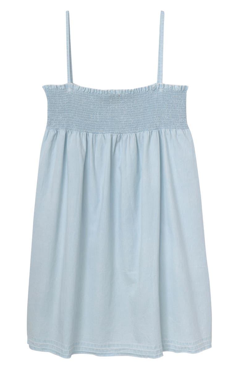 DL1961 Smocked Denim Dress, Main, color, BLEACH