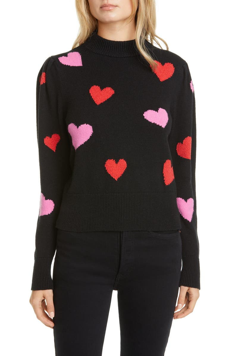 KATE SPADE NEW YORK hearts mock neck sweater, Main, color, BLACK