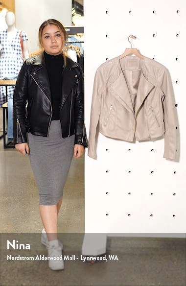 Record Breaker Collarless Faux Leather Moto Jacket, sales video thumbnail