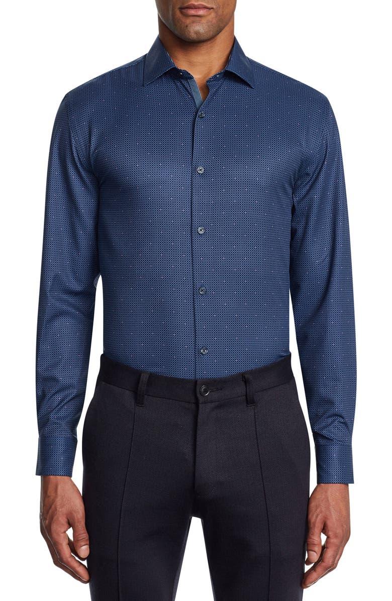 W.R.K Trim Fit Stretch Check Performance Dress Shirt, Main, color, NAVY