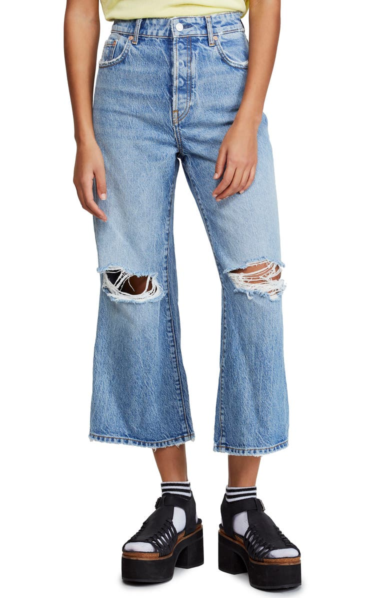 FREE PEOPLE Ranger Ripped Crop Wide Leg Jeans, Main, color, SKY