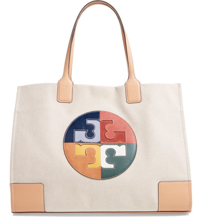 TORY BURCH Ella Colorblock Logo Tote, Main, color, NATURAL / MULTI COLOR