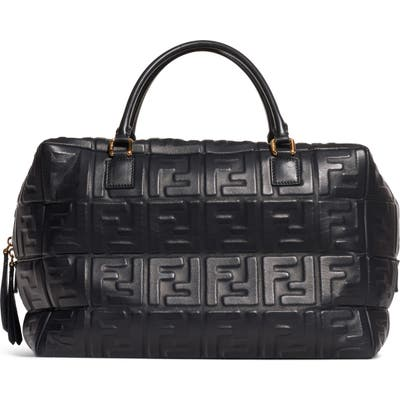 Fendi Boston Logo Embossed Lambskin Leather Satchel - Black