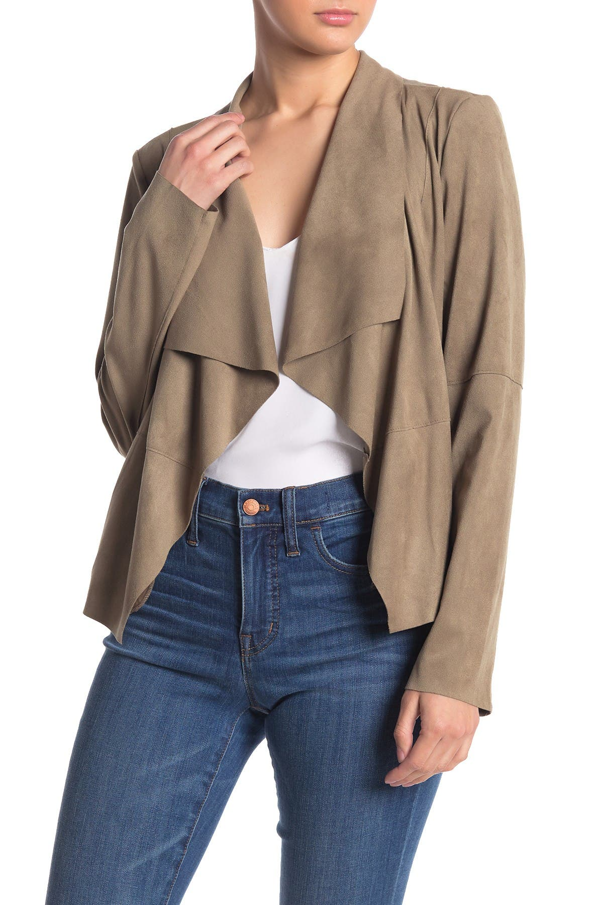 Image of Bagatelle Draped Faux Suede Jacket